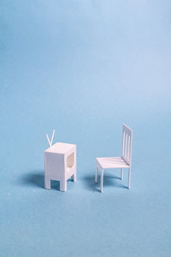 Peter Chadwick WHITE MODEL CHAIR AND TV Miscellaneous Objects