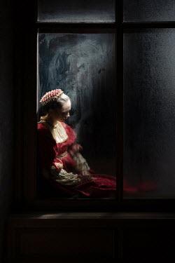 Dorota Gorecka HISTORICAL WOMAN BY WINDOW AT NIGHT Women