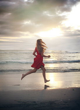 Mark Owen BLONDE BAREFOOT WOMAN RUNNING IN SEA Women