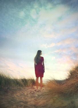 Mark Owen BLONDE BAREFOOT GIRL STANDING ON SAND DUNE Women