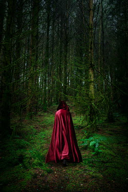 AlcainoCreative Person in red cloak in forest