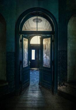 Jaroslaw Blaminsky DOORS AND HALLWAY IN OLD DESERTED BUILDING Houses