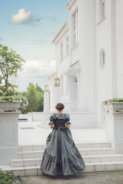 Joanna Czogala HISTORICAL WOMAN ON STEPS OUTSIDE GRAND HOUSE Women
