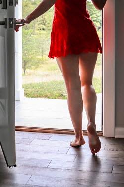 Stephen Carroll BAREFOOT WOMAN IN LINGERIE WAITING BY DOOR Women