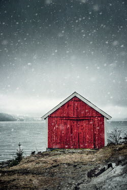 Evelina Kremsdorf RED HUT BY WATER WITH SNOW Houses