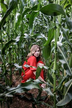 Stephen Carroll women in red dress hiding amongst greenery Women