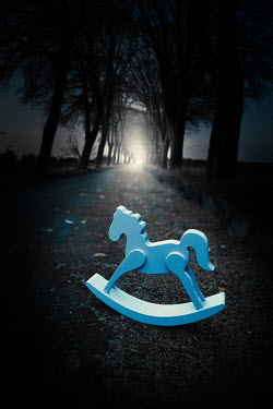 Magdalena Russocka wooden rocking horse abandoned on country road