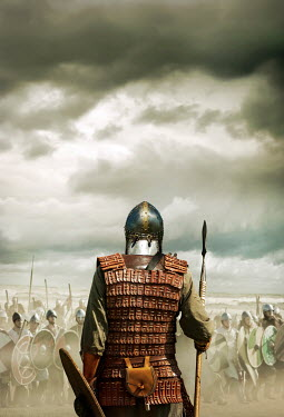 Stephen Mulcahey A rear, view of a viking warrior, talking to his army