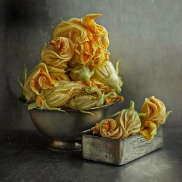 Andreeva Svoboda Yellow flowers in bowl and tin Flowers