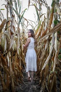 Stephen Carroll Young woman walking in corn field