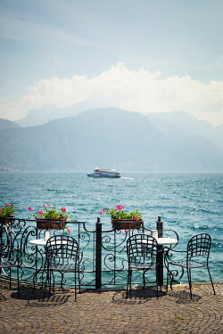 Evelina Kremsdorf Cafe tables by Lake Como in Italy Lakes/Rivers