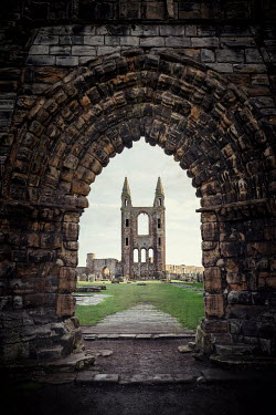 Evelina Kremsdorf Archway and ruins of St. Andrew's Cathedral in Scotland