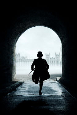 Miguel Sobreira VICTORIAN MAN RUNNING IN LONDON TUNNEL Men