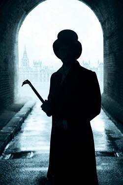 Miguel Sobreira VICTORIAN MAN IN HAT IN LONDON TUNNEL Men