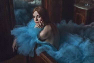 Beata Banach WOMAN IN CHIFFON DRESS ON BED Women