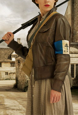 CollaborationJS FRENCH WARTIME WOMAN WITH GUN IN VILLAGE Women