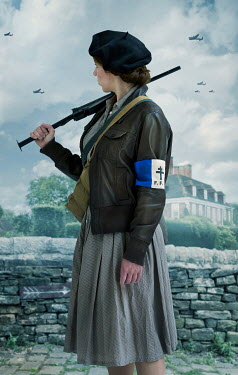 CollaborationJS WARTIME WOMAN WITH GUN BY FRENCH HOUSE Women