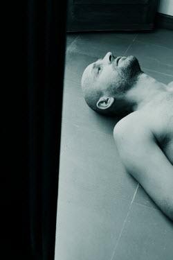 Giovan Battista D'Achille BALD BARE CHESTED MAN LYING ON FLOOR Men