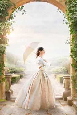 Lee Avison beautiful victorian woman in a summer garden