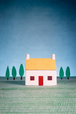 Peter Chadwick MINIATURE HOUSE WITH TREES AND BLUE SKY Miscellaneous Objects