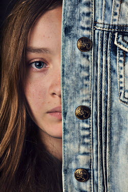 Kelly Sillaste FEMALE FACE COVERED WITH DENIM JACKET Women