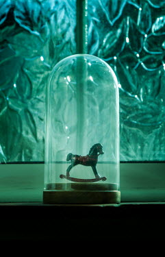 Stephen Mulcahey MINIATURE ROCKING HORSE IN GLASS DOME Miscellaneous Objects