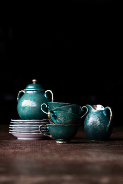 Maria Petkova GREEN RETRO TEA SET ON TABLE Miscellaneous Objects