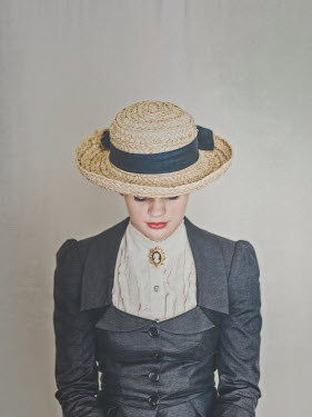 Mary Wethey EDWARDIAN GIRL IN STRAW HAT Women