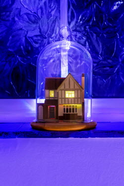 Stephen Mulcahey MINIATURE HOUSE IN GLASS DOME AT NIGHT Miscellaneous Objects