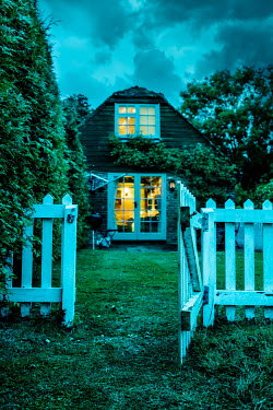 Stephen Mulcahey COTTAGE WITH OPEN GATE AT DUSK Houses