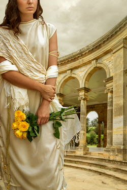 Stephen Mulcahey HISTORICAL ROMAN WOMAN WITH FLOWERS IN PALACE Women