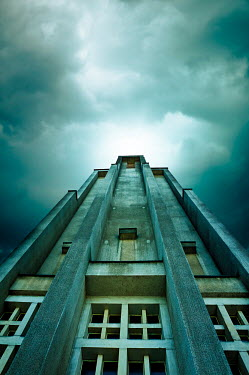 Valentino Sani CONCRETE BUILDING WITH STORMY SKY FROM BELOW Miscellaneous Buildings