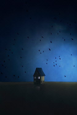 Catherine Macbride Paper craft house under flying birds at night Miscellaneous Objects
