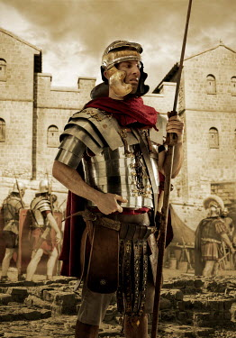 CollaborationJS A roman centurion with soldiers by building Men