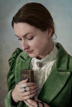 Jaroslaw Blaminsky HISTORICAL WOMAN HOLDING BIBLE AND ROSARY Women