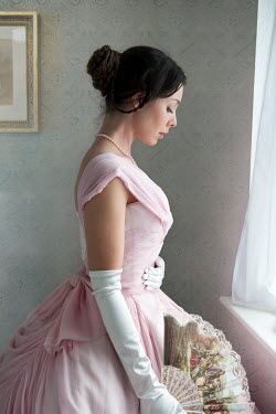Lee Avison victorian woman in pink ball gown