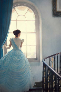 Lee Avison victorian woman on the staircase looking through an arched window