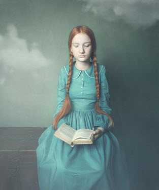 Anna Buczek Girl with pigtails in blue Victorian dress sitting with open book Children