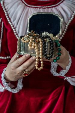 Jaroslaw Blaminsky HISTORICAL WOMAN HOLDING SILVER BOX OF JEWELLERY Women