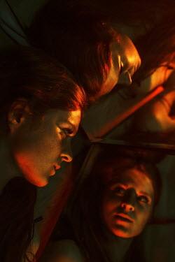 Kirill Sakryukin TWO GIRLS WITH RED HAIR REFLECTED IN MIRROR Women