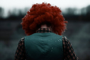 Kirill Sakryukin MALE CLOWN WITH RED WIG OUTDOORS Men