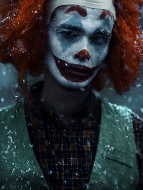Kirill Sakryukin CLOSE UP OF SINISTER CLOWN IN SNOW Women