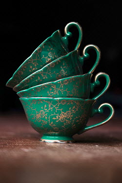 Maria Petkova STACK OF GREEN CHINA TEACUPS Miscellaneous Objects