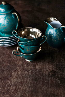 Maria Petkova CLOSE UP OF TURQUOISE AND GOLD TEASET Miscellaneous Objects