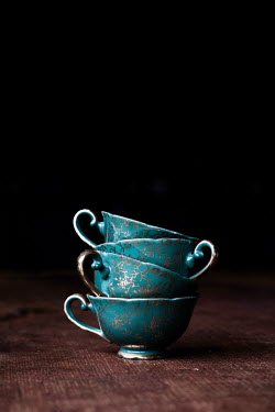 Maria Petkova STACK OF TURQUOISE CHINA TEACUPS Miscellaneous Objects