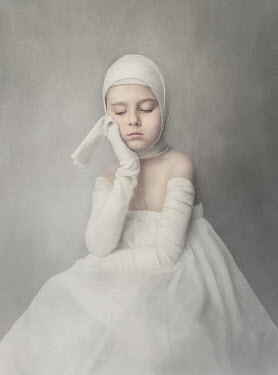 Anna Buczek SAD LITTLE GIRL IN DRESS AND BANDAGES Children