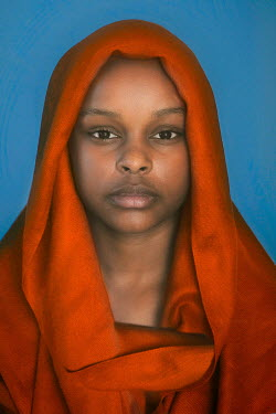 Mary Wethey YOUNG BLACK GIRL IN ORANGE HEADSCARF Children