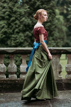 Magdalena Russocka historical woman walking on terrace