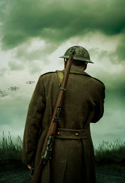 Stephen Mulcahey A ww1 soldier  watching  biplanes fly overhead