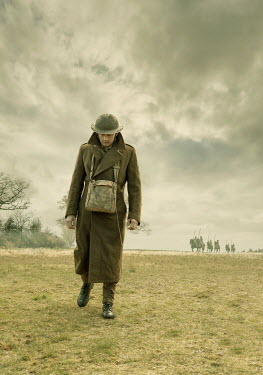 Stephen Mulcahey A ww1 soldier walking through a field